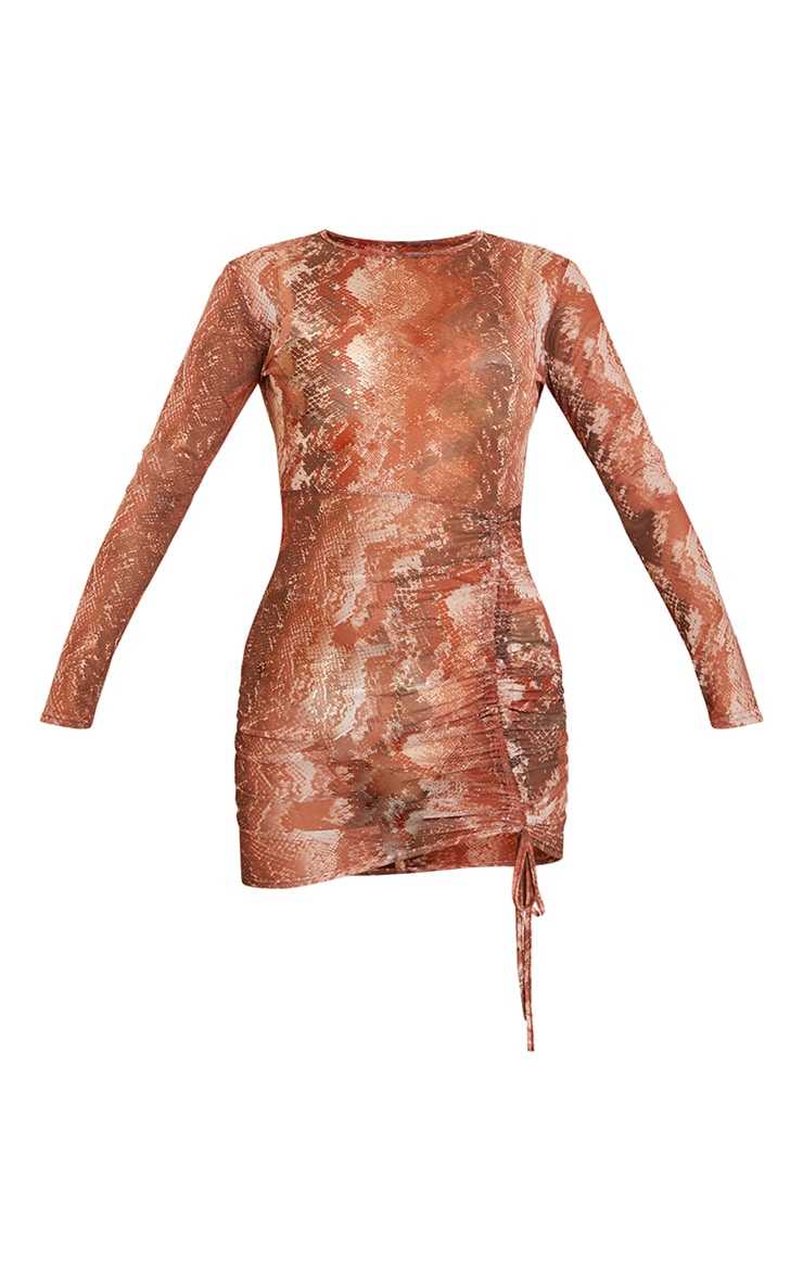 Rust Snake Print Mesh Long Sleeve Ruched Skirt Bodycon Dress 5