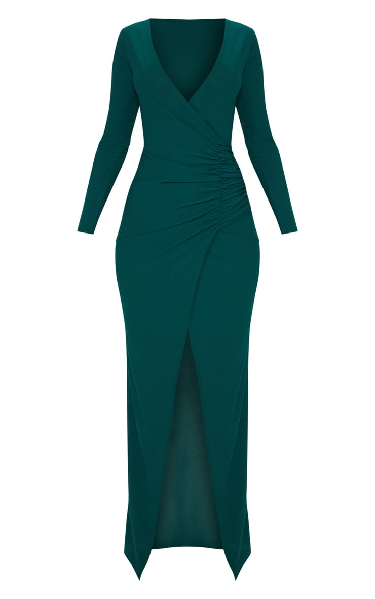 Emerald Green Plunge Ruched Split Leg Maxi Dress 3