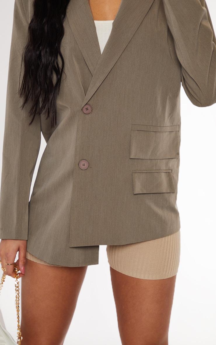 Khaki Woven Double Pocket Side Button Dad Blazer 4