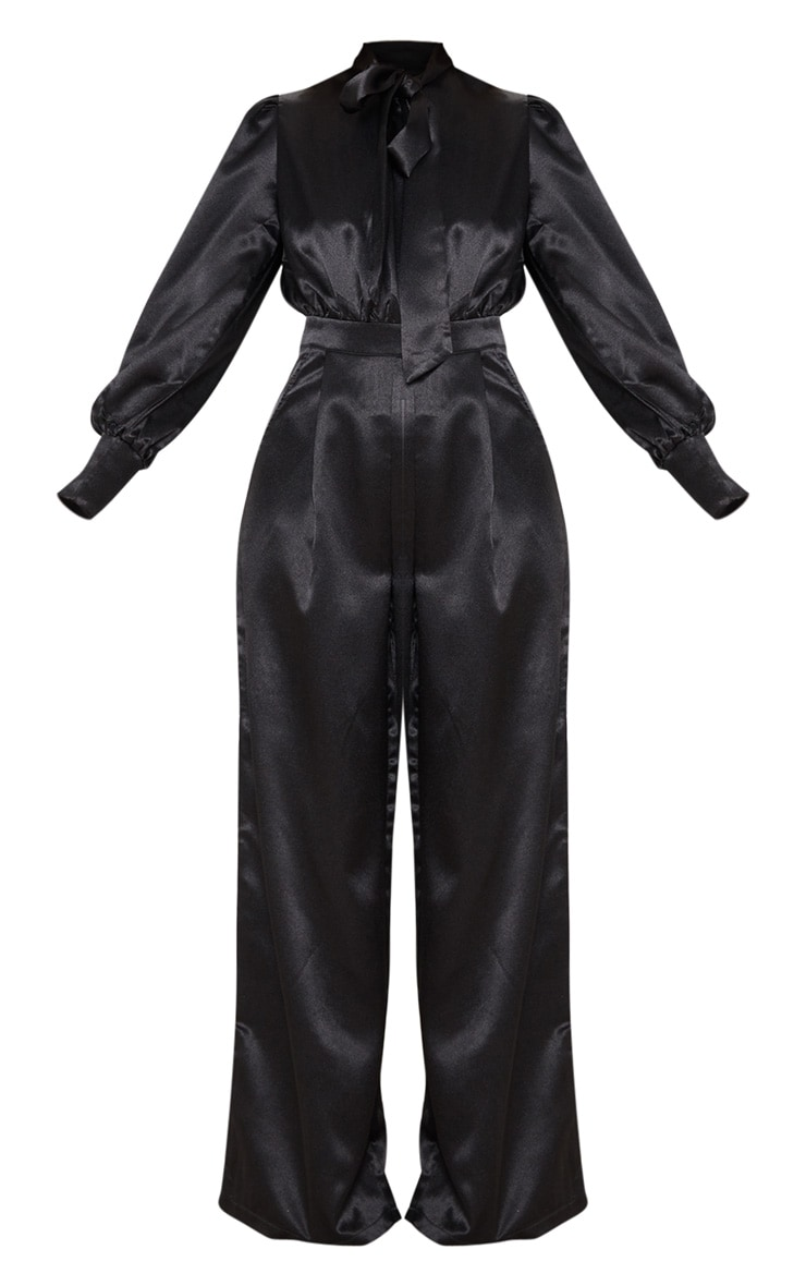 Black Hammered Satin Bow Neck Tie Long Sleeve Jumpsuit 3