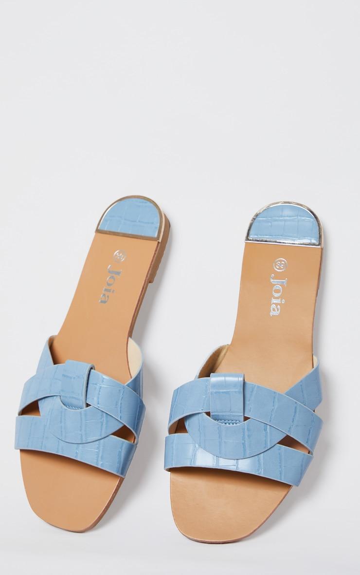 Blue Croc PU Strap Over Flat Sandals 4