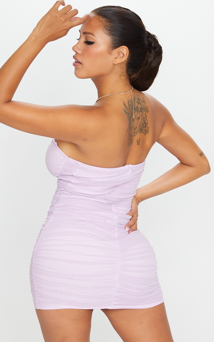 Shape Lilac Mesh Ruched Hook and Eye Bodycon Dress 2