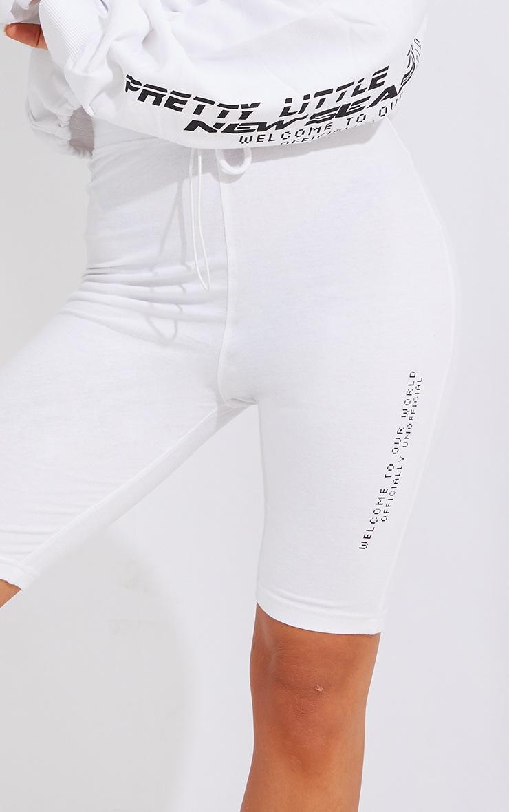 PRETTYLITTLETHING White New Season Slogan Bike Shorts 5