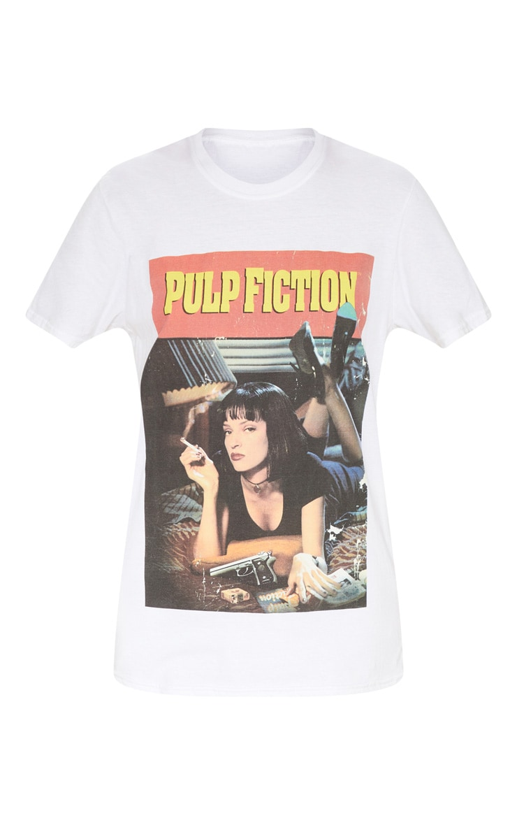 White Pulp Fiction Slogan T Shirt 3