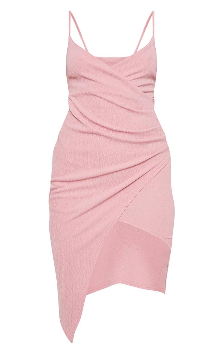Lauriell robe midi rose en crêpe cache-cœur 3
