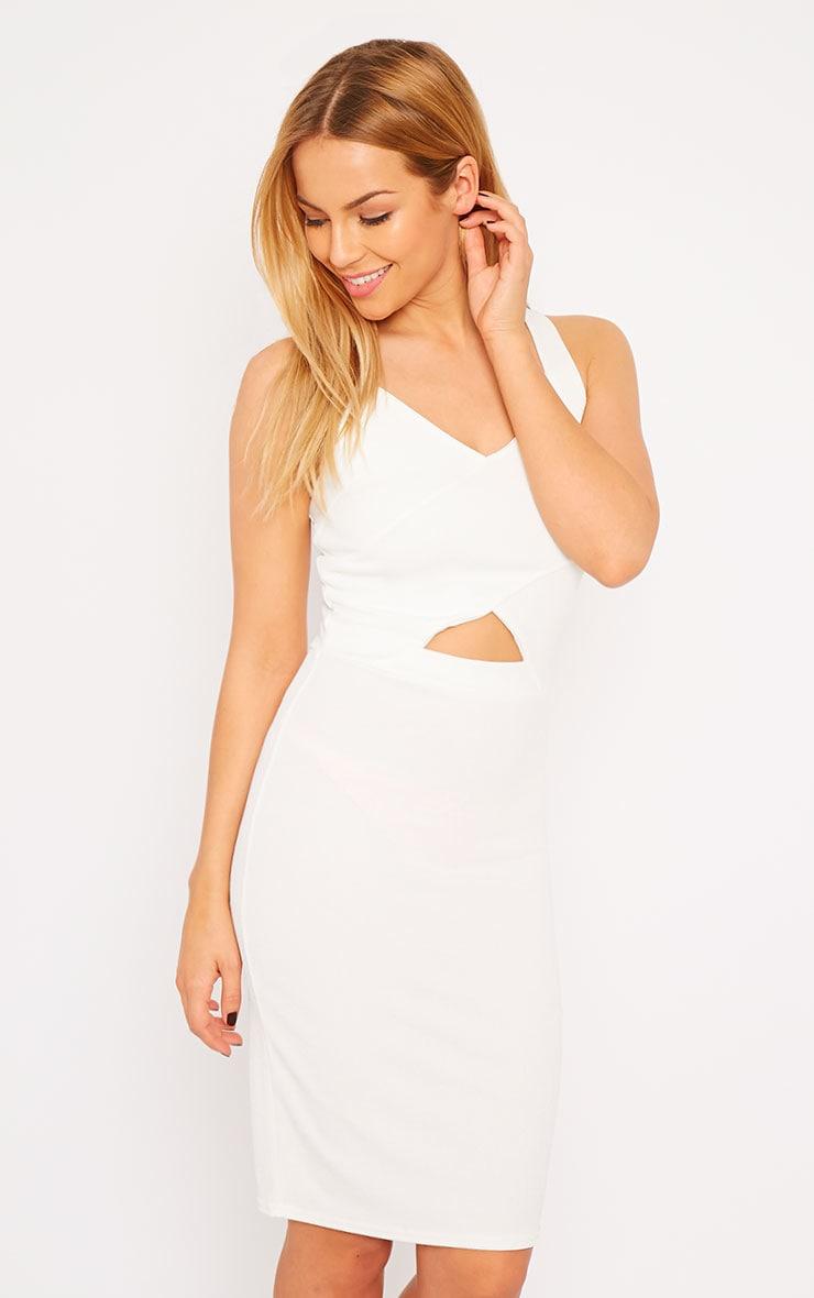 Habiba White Crepe Keyhole Cut Out Mini Dress 4