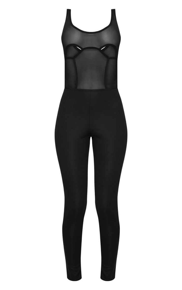 Black Mesh Cut Out Panel Jumpsuit 3