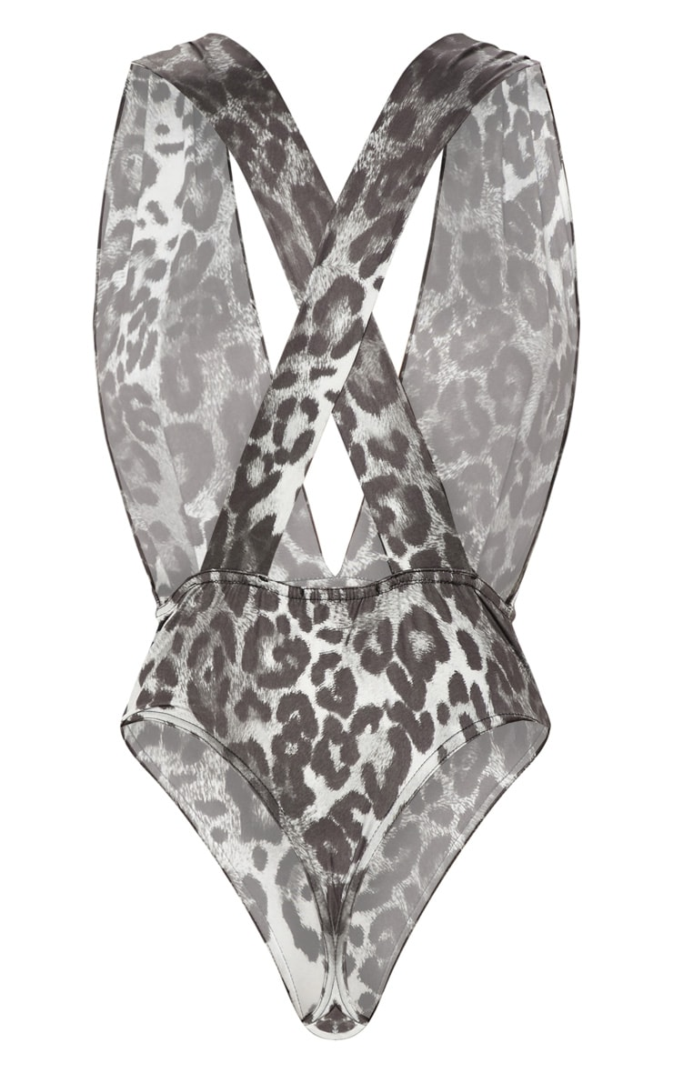 Grey Plunge Leopard Cross Back Bodysuit 4