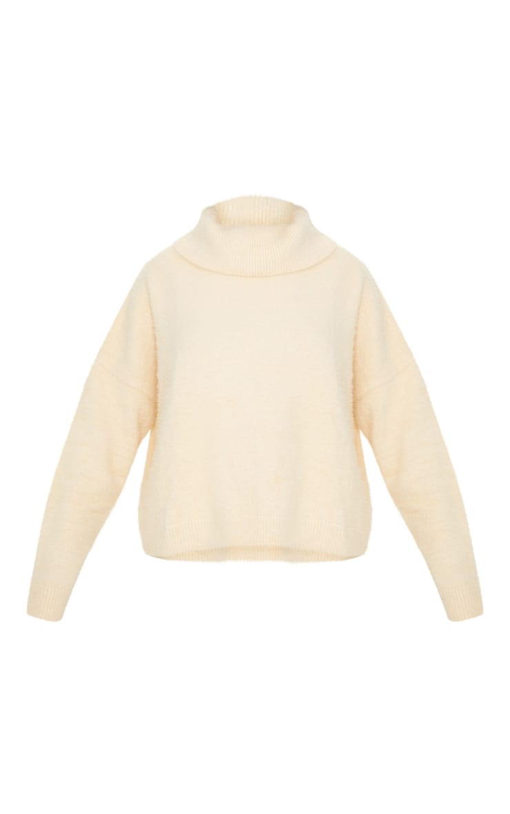 Cream High Neck Eyelash Knitted Jumper  3