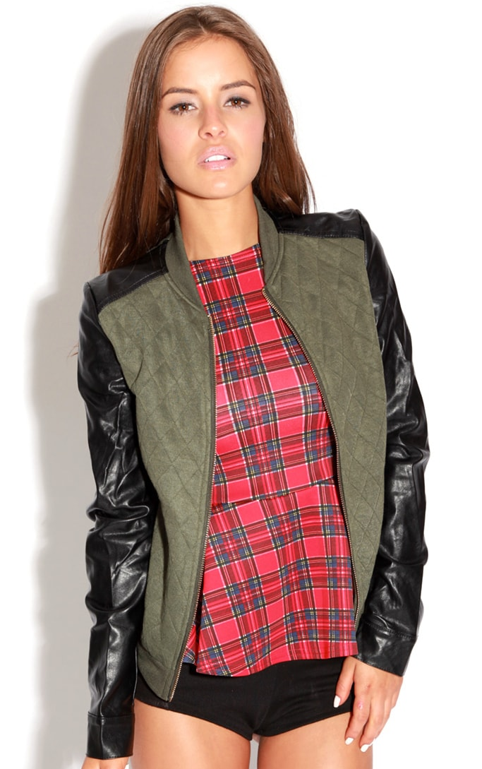 Cala Green Quilted Jacket With PU Sleeves 4