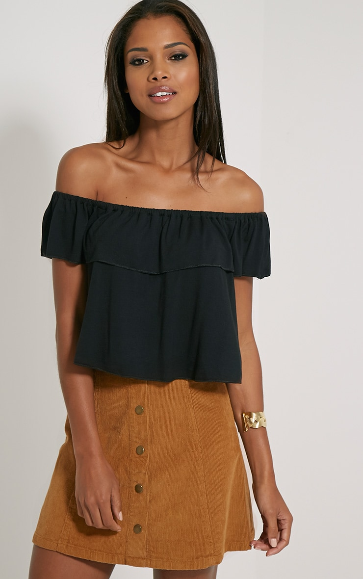 Alice Black Bardot Frill Jersey Crop Top 1