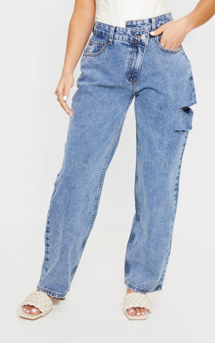 Petite Vintage Wash Baggy Low Rise Asymmetric Waistband Thigh Split Boyfriend Jeans 2