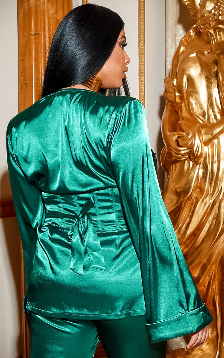 PLT Plus - Blazer satiné vert émeraude style corset  3