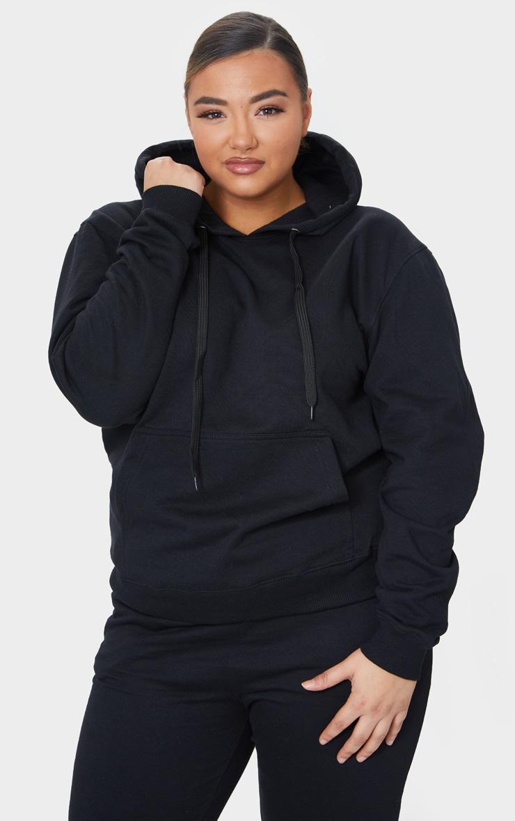 Plus Black Basic Hoodie 1
