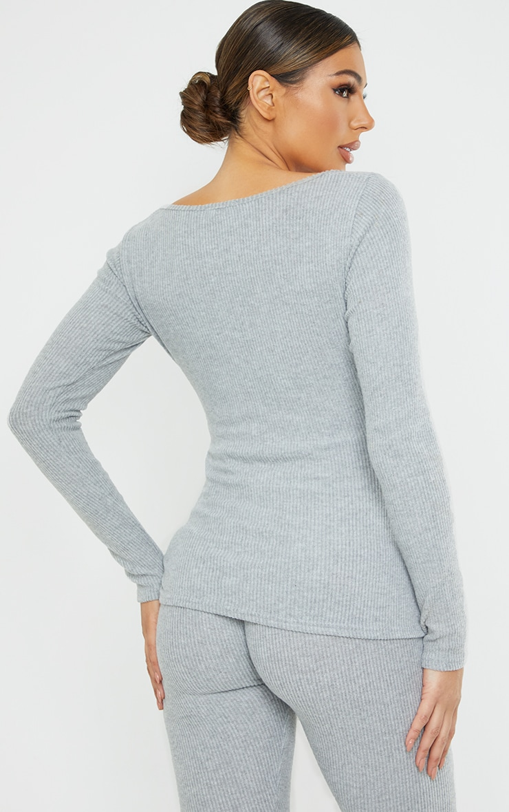 Maternity Grey Ruched Bust Brushed Rib Top 2