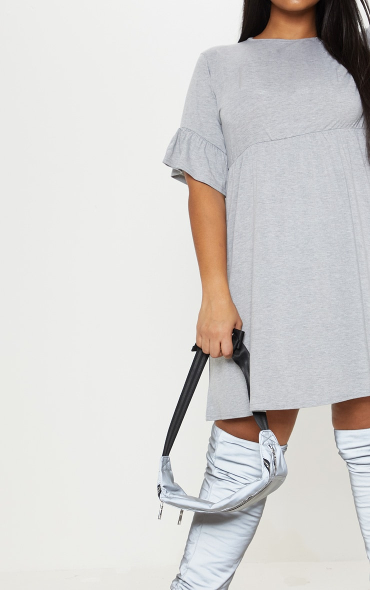 Plus Grey Marl Frill Detail Smock Dress 5