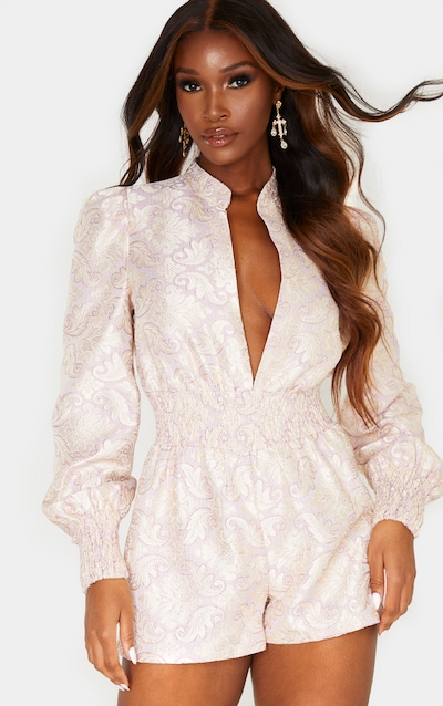 Lilac Jacquard Long Sleeve Shirring Detail Playsuit