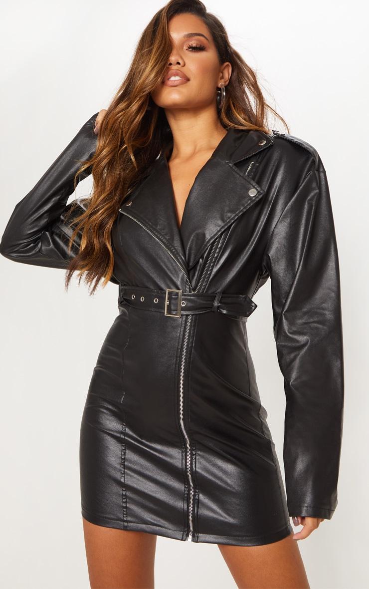 0b677d6b8e Black Faux Leather Biker Bodycon Dress | PrettyLittleThing USA