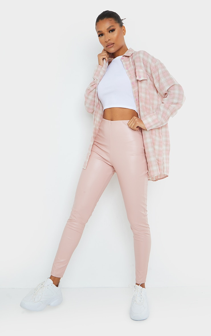 Pink Basic Faux Leather High Waist Leggings 1