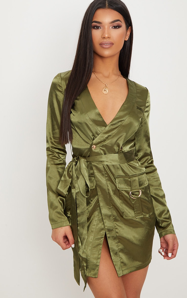 Olive Satin Utility Long Sleeve Bodycon Dress