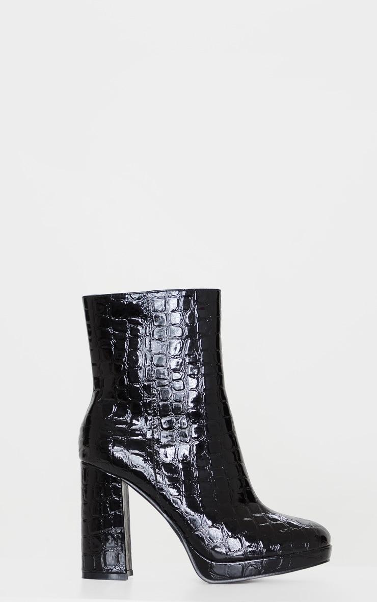 Black Low Platform Block Heel Croc PU Boot 3