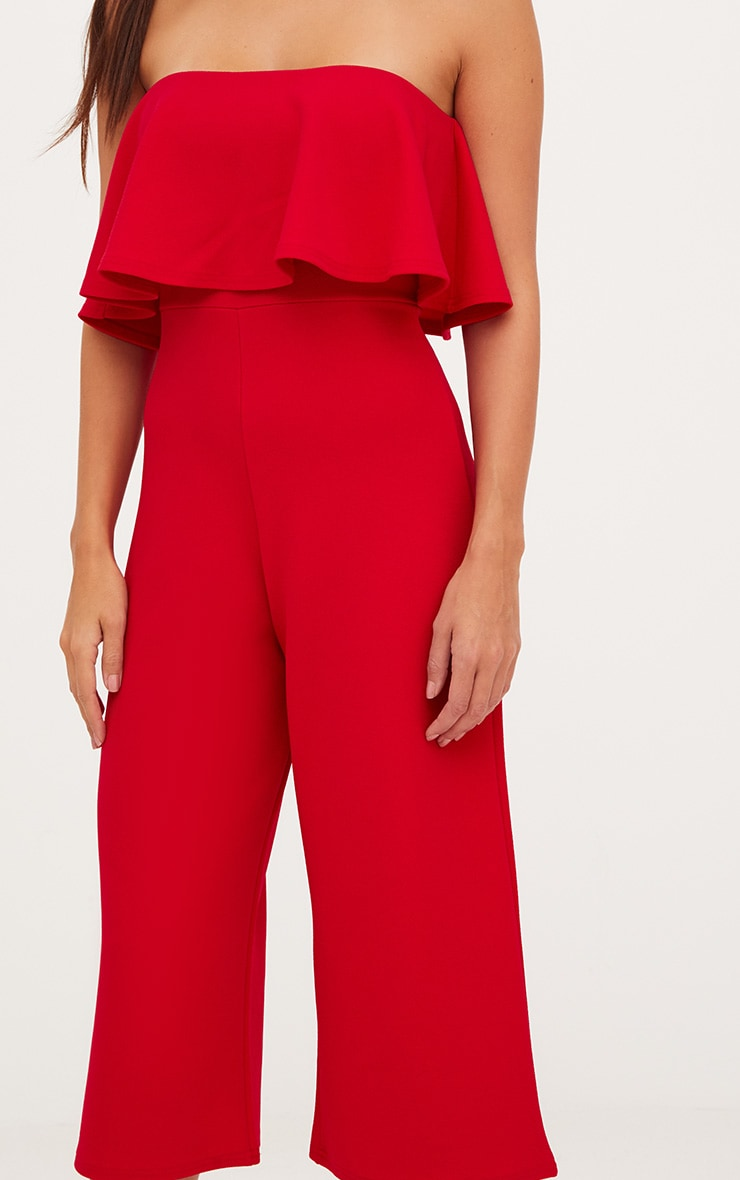 Red Bardot Double Layer Culotte Jumpsuit 5