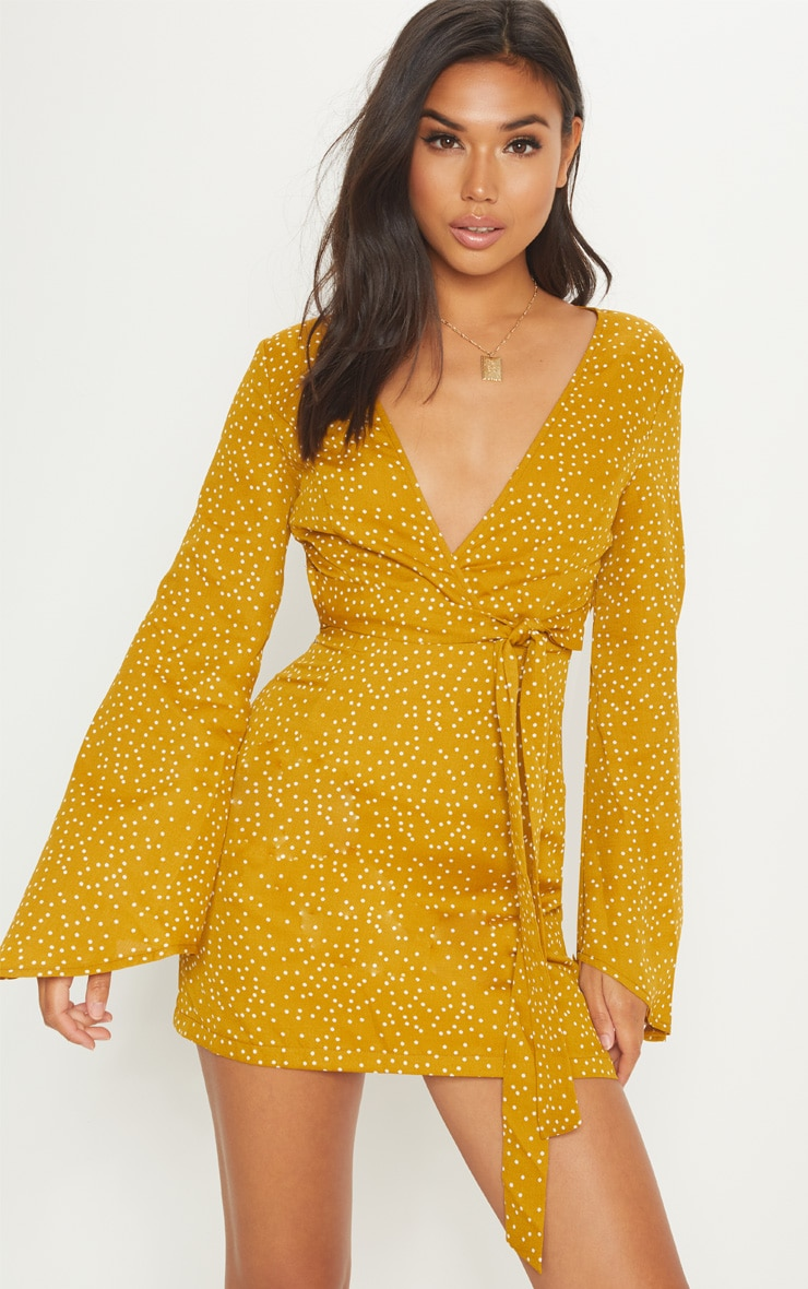 Mustard Polka Dot Backless Fluted Sleeve Skater Dress 1