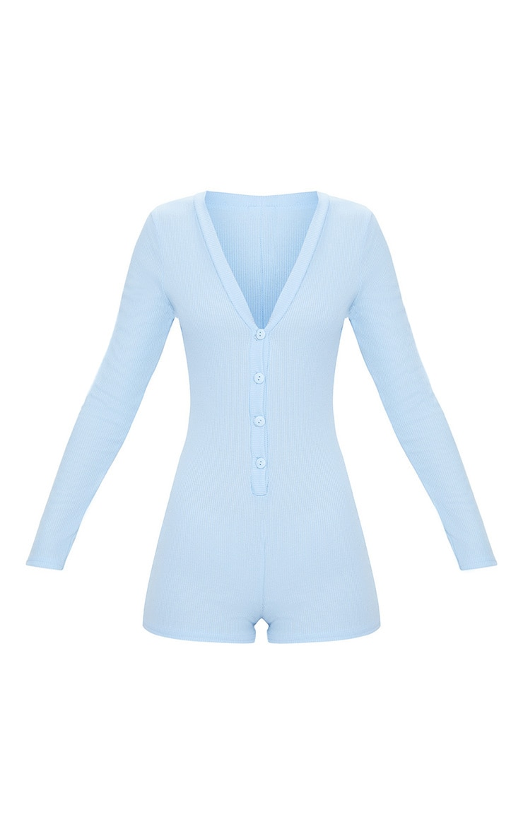 Baby Blue Ribbed Button Detail PJ Romper 3