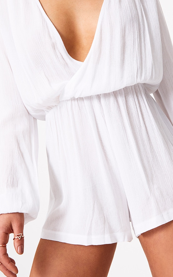 Aleisha White Wrap Front Cheesecloth Playsuit 5