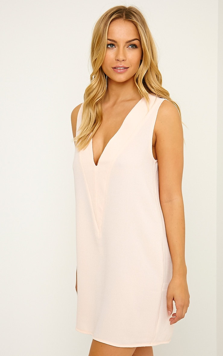 Haelyn Nude Plunge V Shape Loose Fit Binding Dress 1