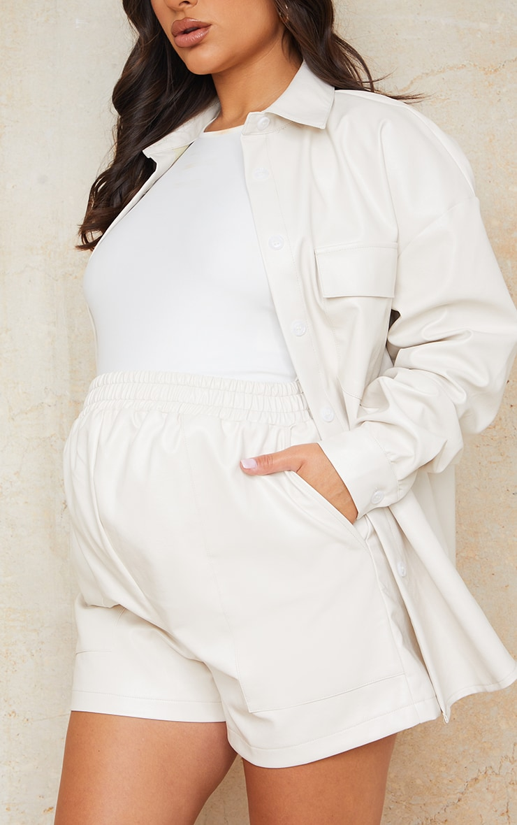 Maternity Cream Faux Leather Pocket Detail Shorts 5