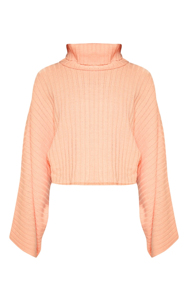Peach Ribbed Knit High Neck Jumper  3