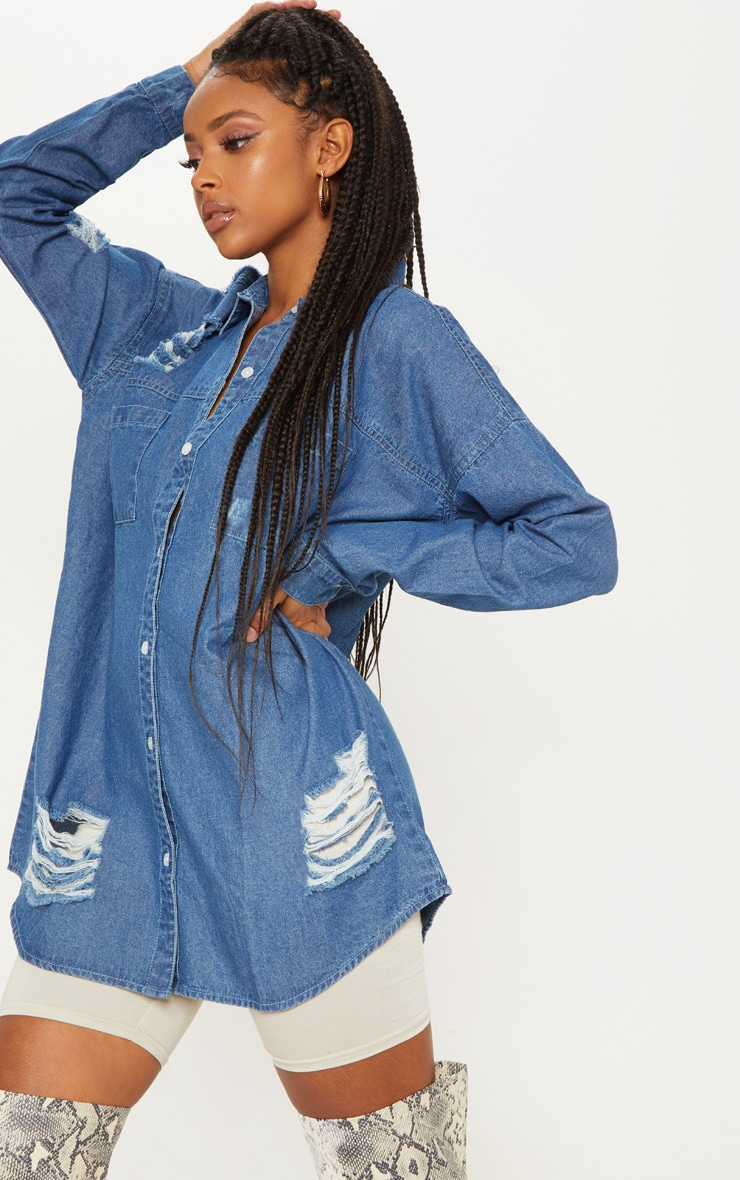 Mid Wash Oversized Distressed Denim Shirt 5