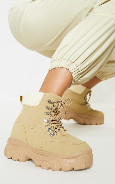 Sand Faux Fur Detail Chunky Hiker Boot