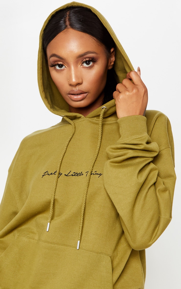 PRETTYLITTLETHING Khaki Embroidered Oversized Hoodie 5