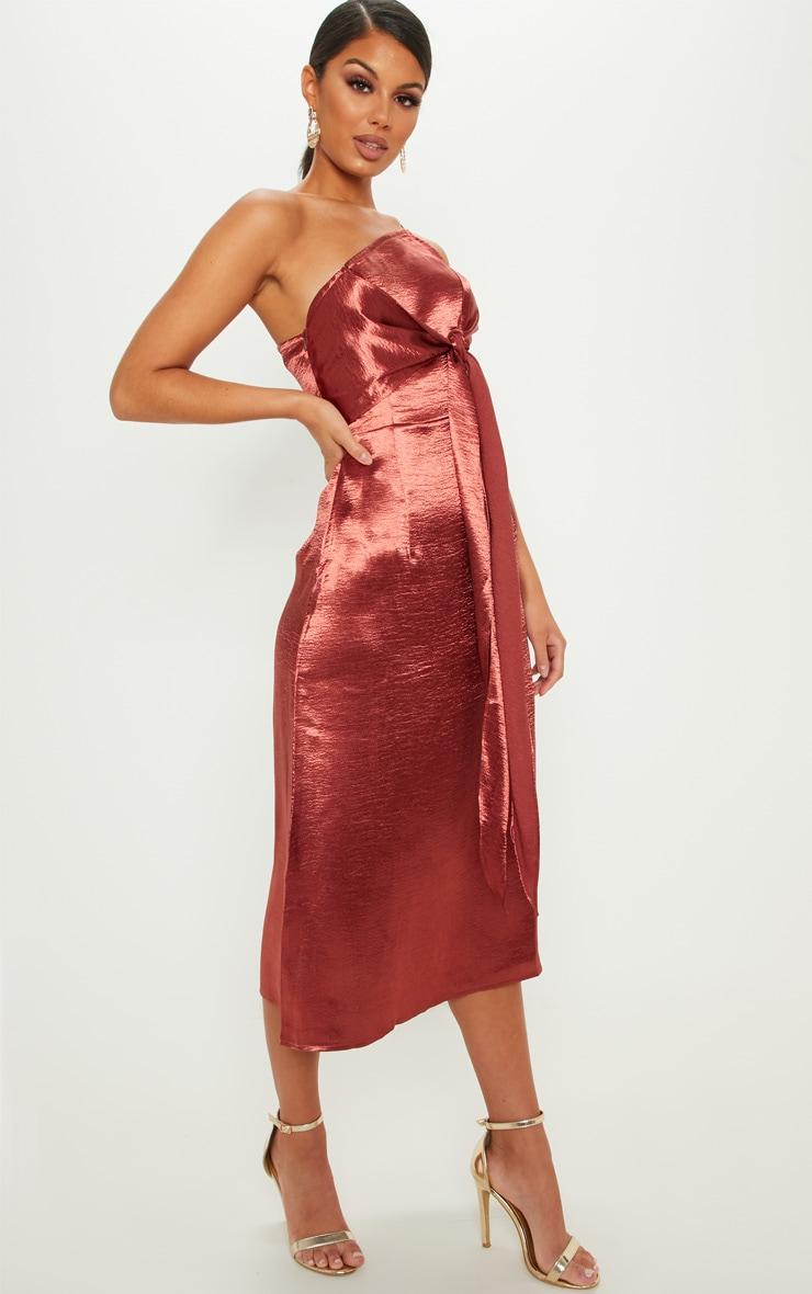 79412a444682 Deep Rust Hammered Satin Midi Dress | Dresses | PrettyLittleThing AUS