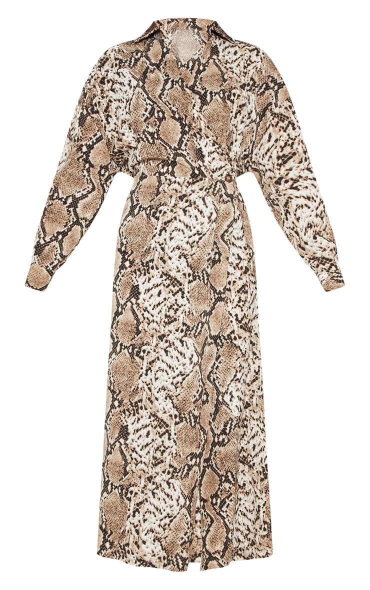 Brown Satin Snake Midi Dress 3