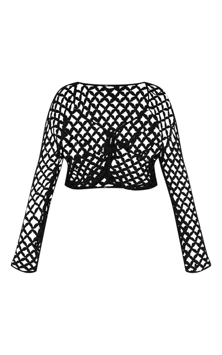 Plus Black Crochet Lace Up Top 3