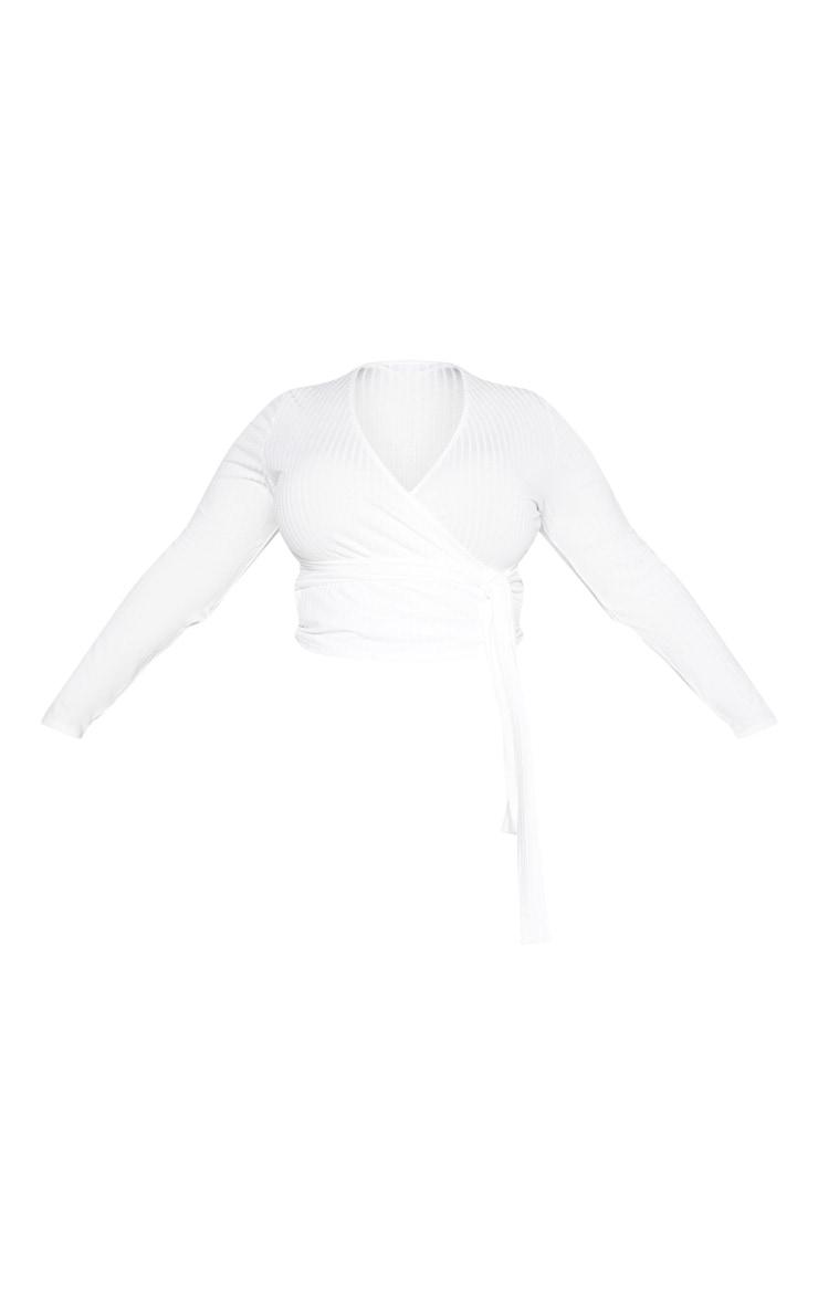 Plus Cream Ribbed Long Sleeve Tie Waist Crop Top 3