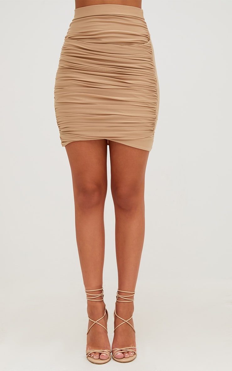 Sabina Stone Ruched Layered Slinky Mini Skirt 2