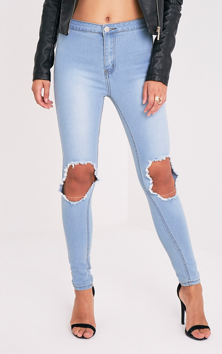 Light Wash Open Knee Rip High Waisted Skinny Jean 1