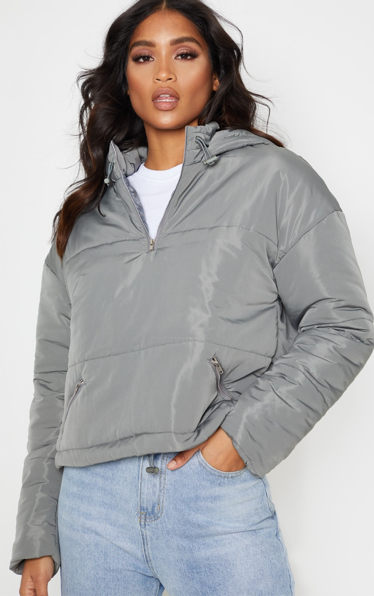 Charcoal Grey Hooded Pullover Puffer Jacket 3