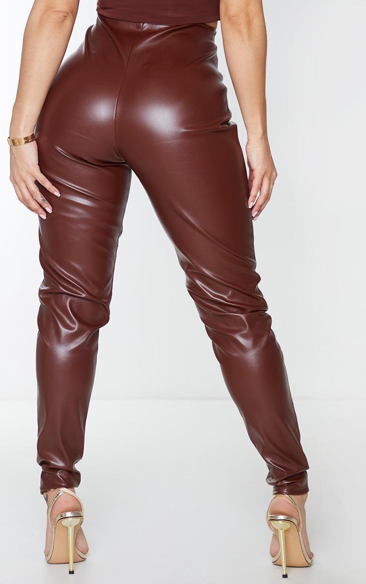 Shape Chocolate Brown PU Seam Detail High Waist Trousers 3