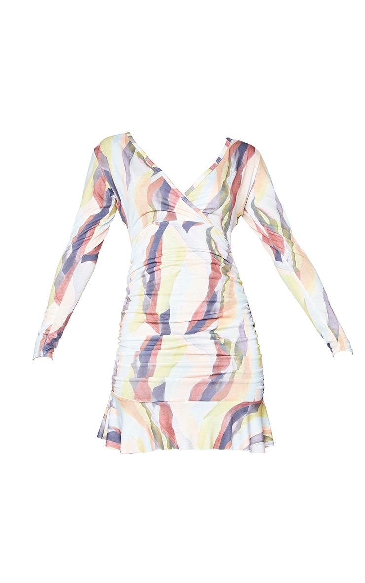 Multi Watercolor Print Ruched Wrap Frill Hem Bodycon Dress 5