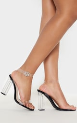 Black Wide Fit Clear Block Heel Sandal 1