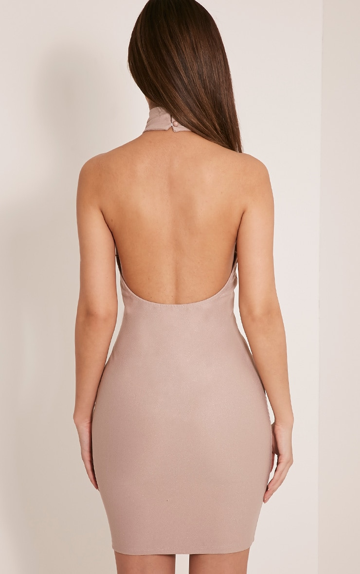 Jesseca Taupe Neck Detail Lace Up Crepe Bodycon Dress 2