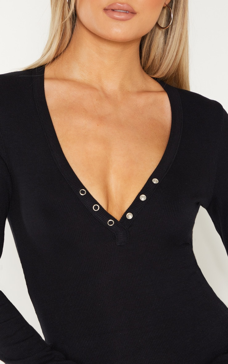 Tall Black Long Sleeve Popper Detail Thong Bodysuit 7