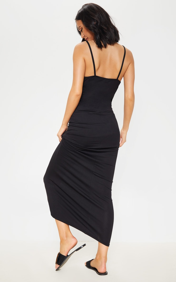 Black Jersey Plunge Strappy Maxi Dress 2