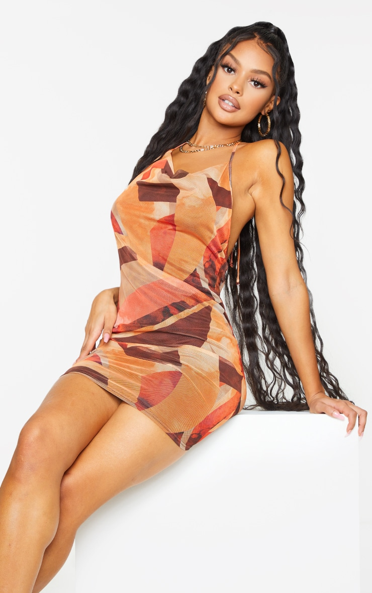 Orange Abstract Print Mesh Halterneck Open Back Bodycon Dress 1