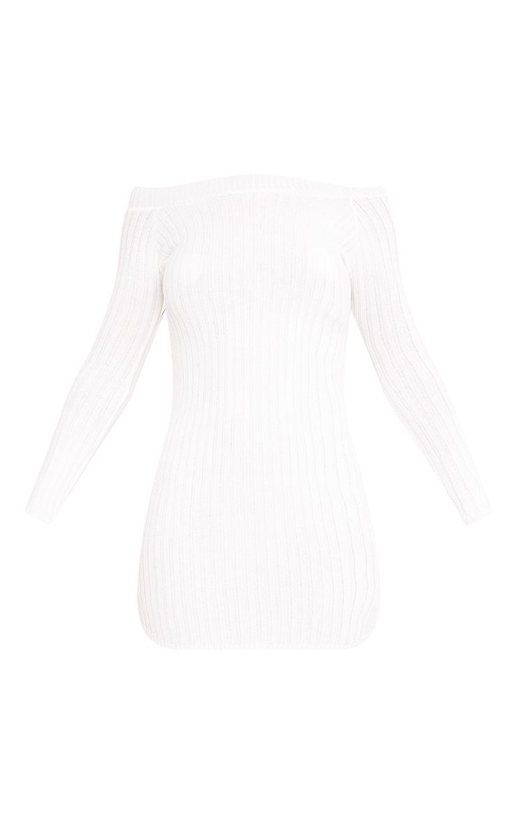 Julia Cream Knit Bardot Mini Jumper Dress 3